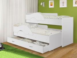 Кровать Матрешка-радуга белая