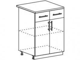 Ксения ШН1Я 600 шкаф нижний с 2  ящиками и створками