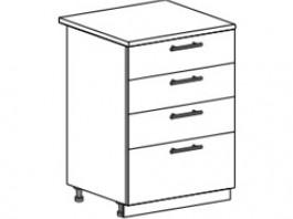 Ксения ШН4Я 600 шкаф нижний с 4 ящиками